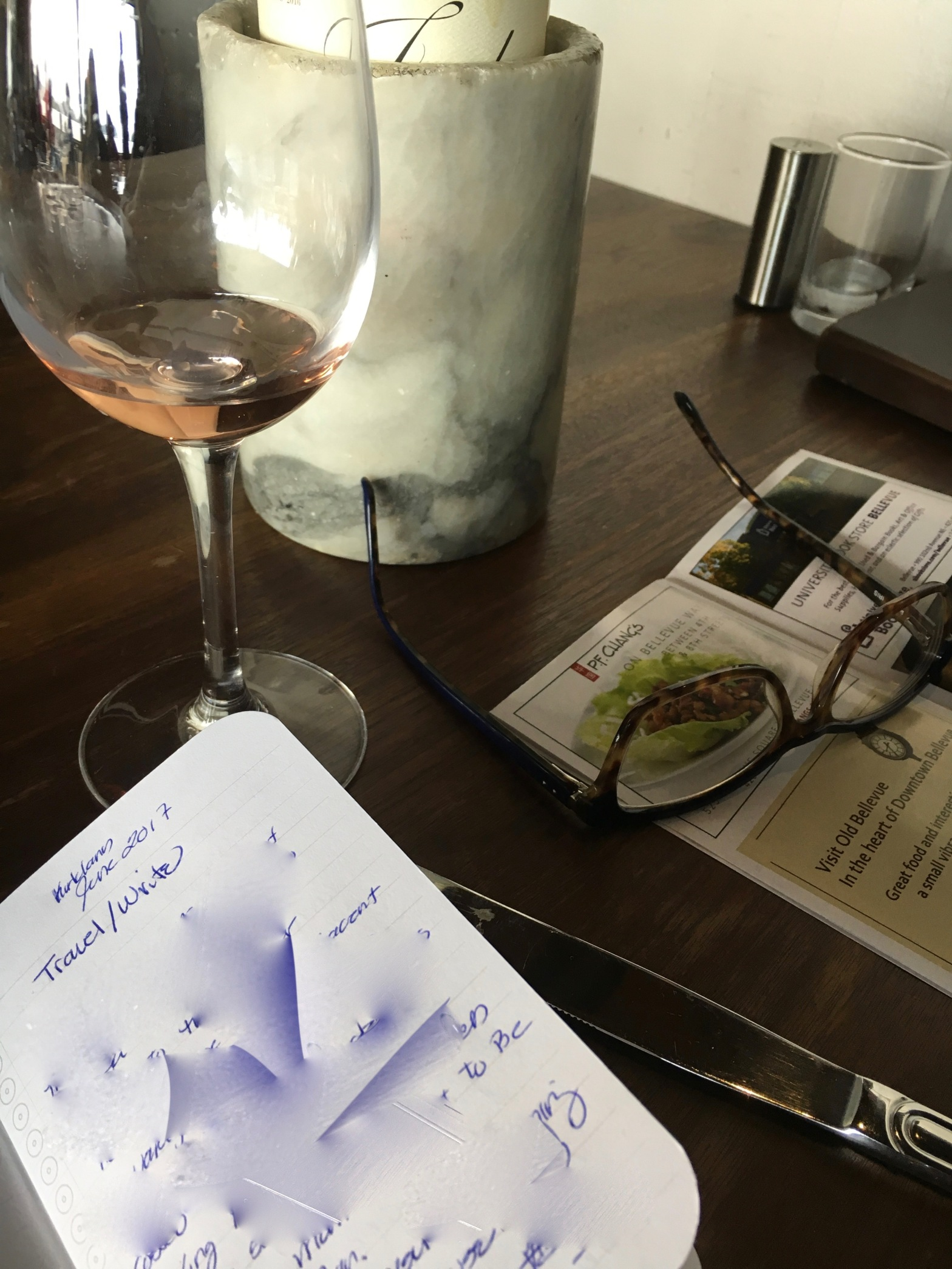 Notebooks and wine