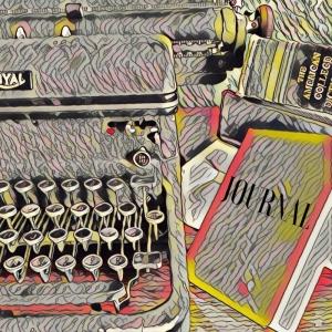 Journal and typewriter