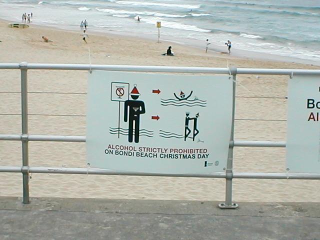 Bondi Beach warning Sign